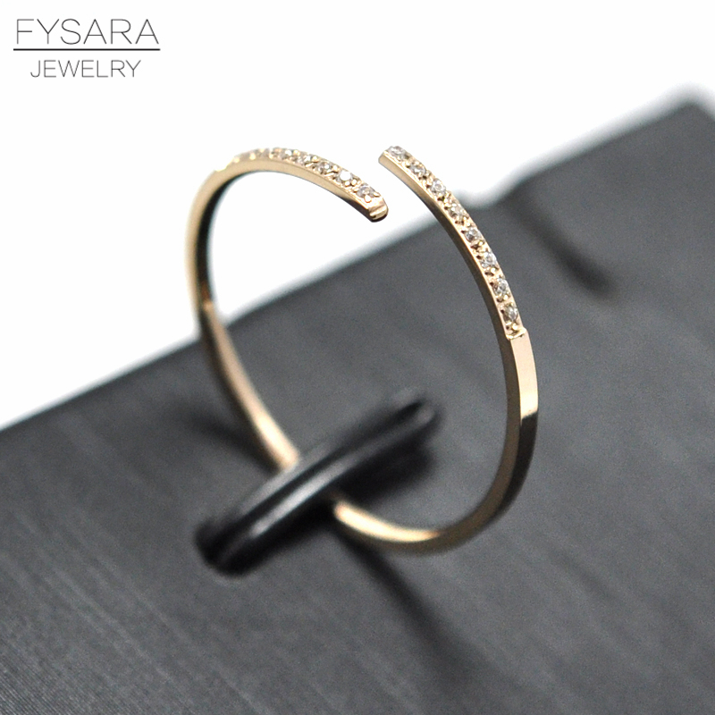 FYSARA Austrian Crystals Rings 1mm Thin Ring Women Jewelry Love Simple Intersect Tail Rings Rose Gold Color Open Cuff Rings Gift