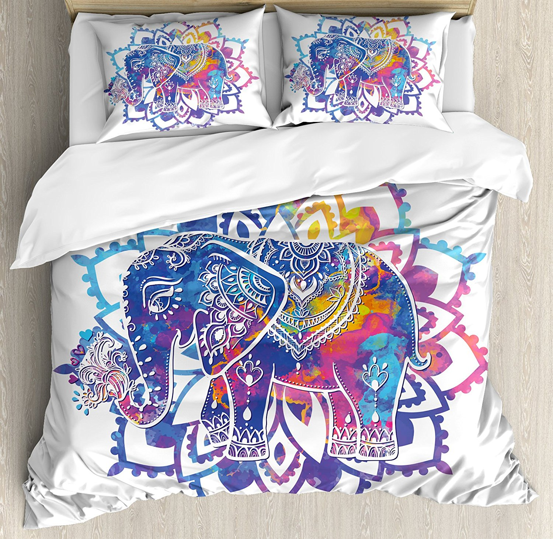 Elephant Mandala Duvet Cover Set Hippie Tie Dye Colored Indian Tribal Image with Floral Circle Frame Print Bedding Set