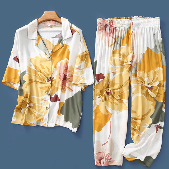 Summer New Nightgown Flower Ink Printing Satin Pajamas Short sleeved Sleepwear Ankle Length Pants Loungewear Pijama Home Clothes