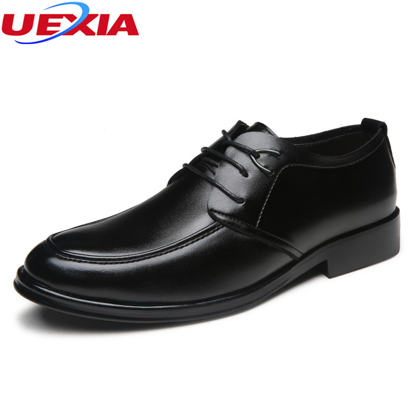 UEXIA New Fashion Pointed Toe Oxfords Men Business Leather Shoes Lace-up Men Classic Wedding Formal Shoes High Quality Dress Men new brand designer formal men dress shoes lace up business party oxfords shoes for men pointed toe brogues men s flats plus size