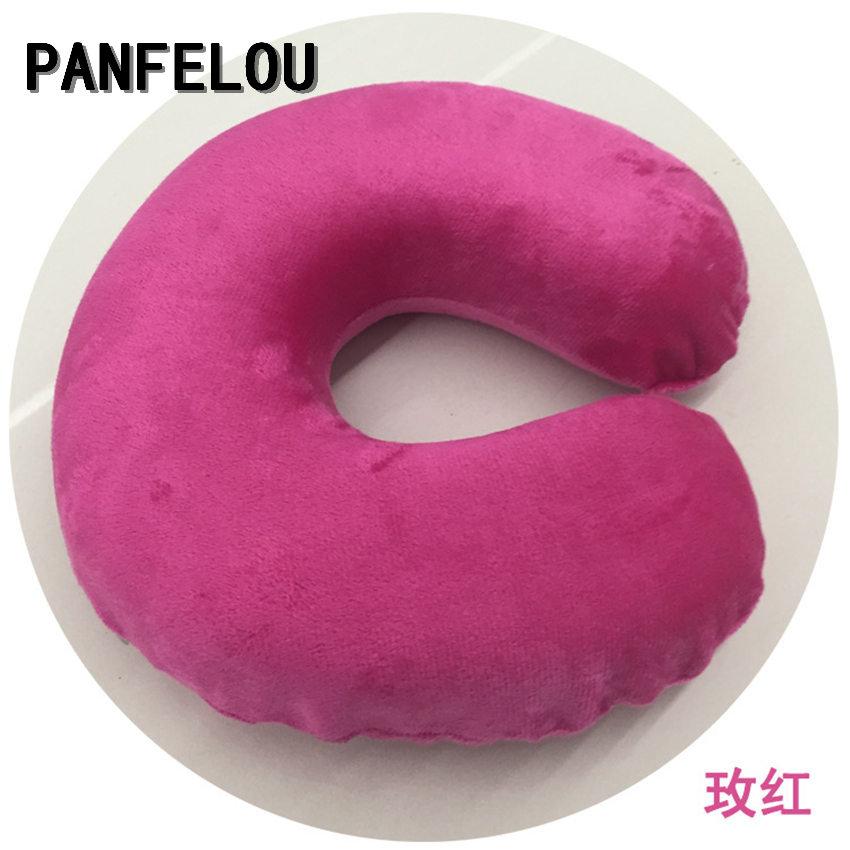 PANFELOU U-Shaped rose red color green Cotton lint Nanoparticles Neck Nap Car/Airplane Headrest Cushion Nursing/Travel Pillow