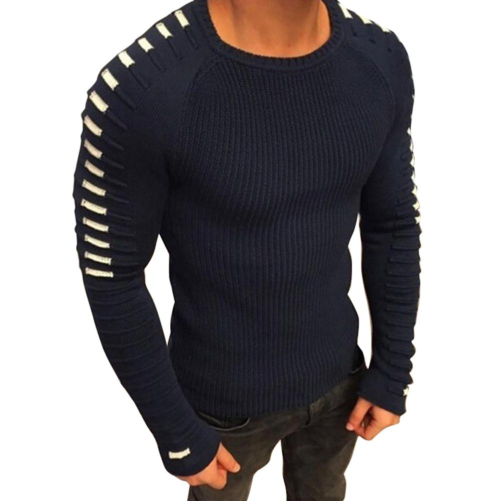 Men's Sweater Knittwear Pullovers Slim-Fit O-Neck Homme Autumn Striped Casual S-3XL