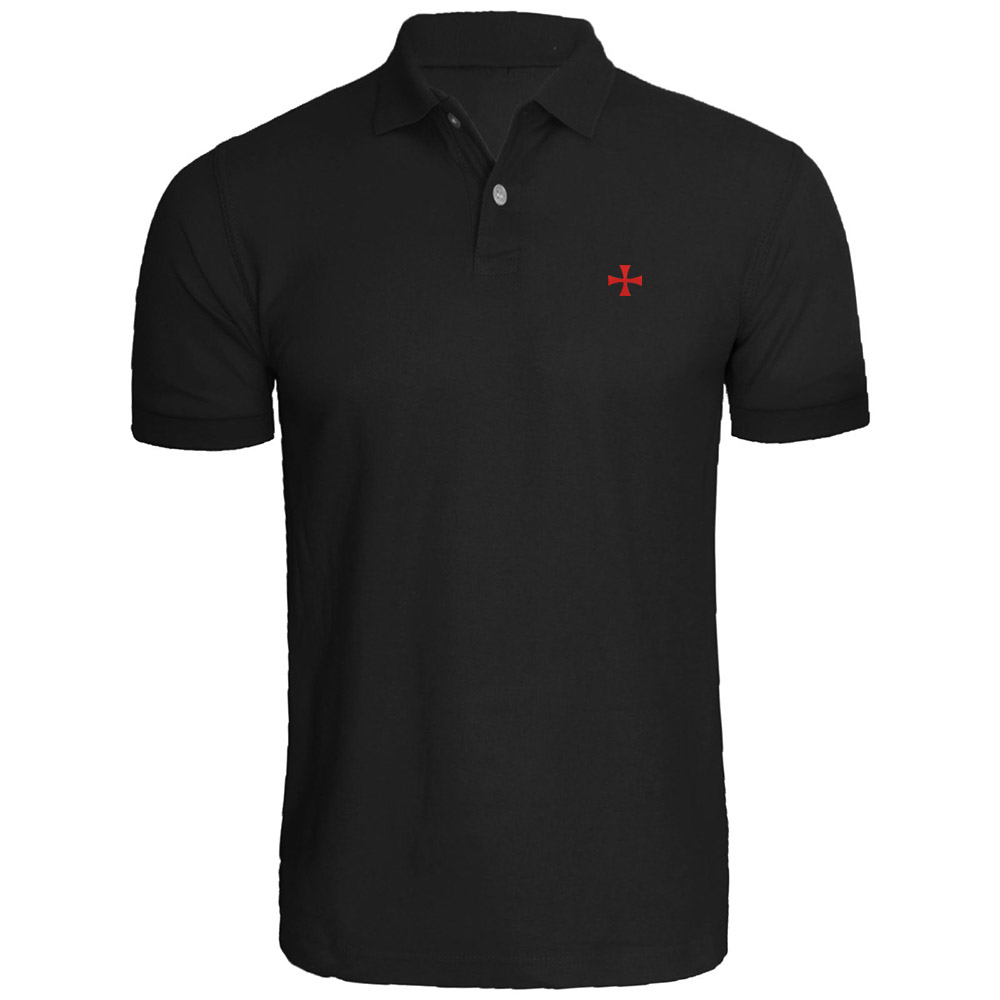 Mens Knights Templar Cross Embroidery Embroidered   Polo   Shirts