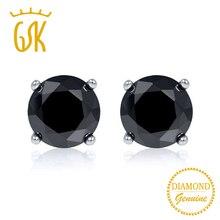 b7d122306940 Gemstoneking Diamante Negro-joyería 0.33 quilates corte redondo Diamante  Negro natural 14 K oro blanco Pendientes de broche para.