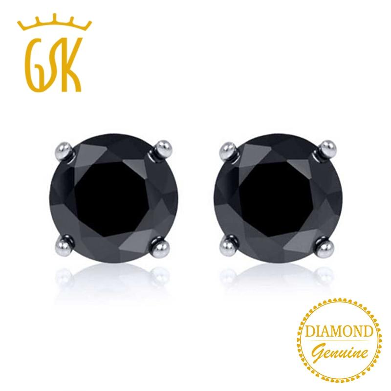 0 33 Ctw Round Cut Black Diamond Solid 14K White Gold Stud Earrings
