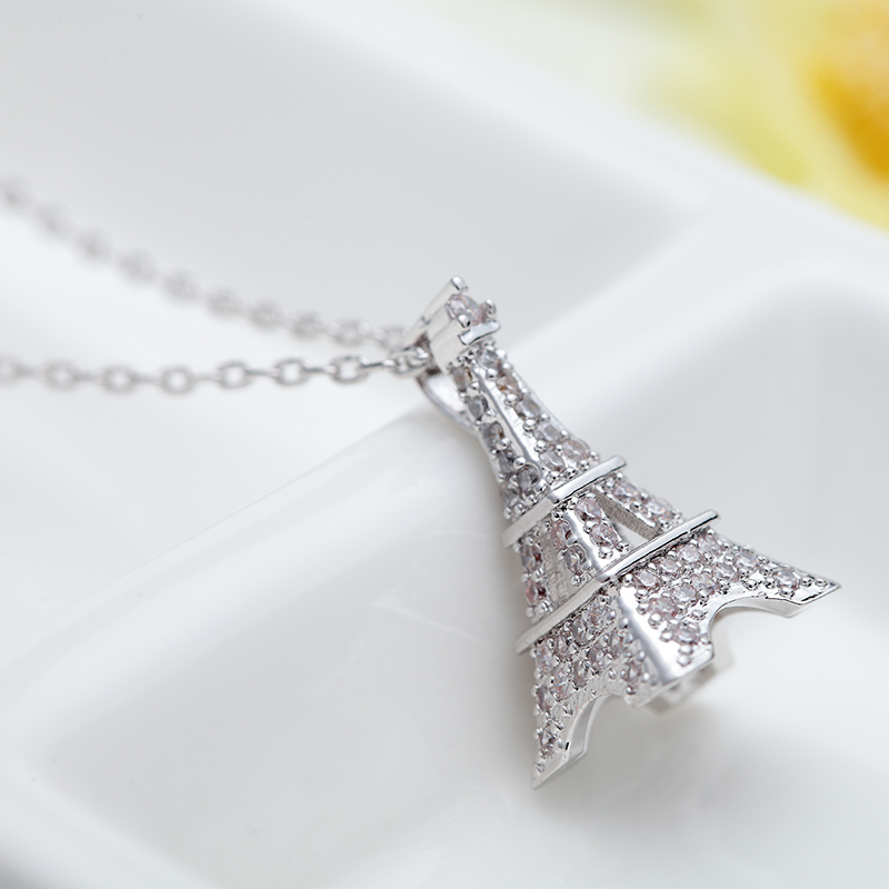 LUOTEEMI Free Shipping Quality Crystal Zircon Jewelry Explosion Models For Lady Paris Eiffel Tower Necklace For Women New Gift