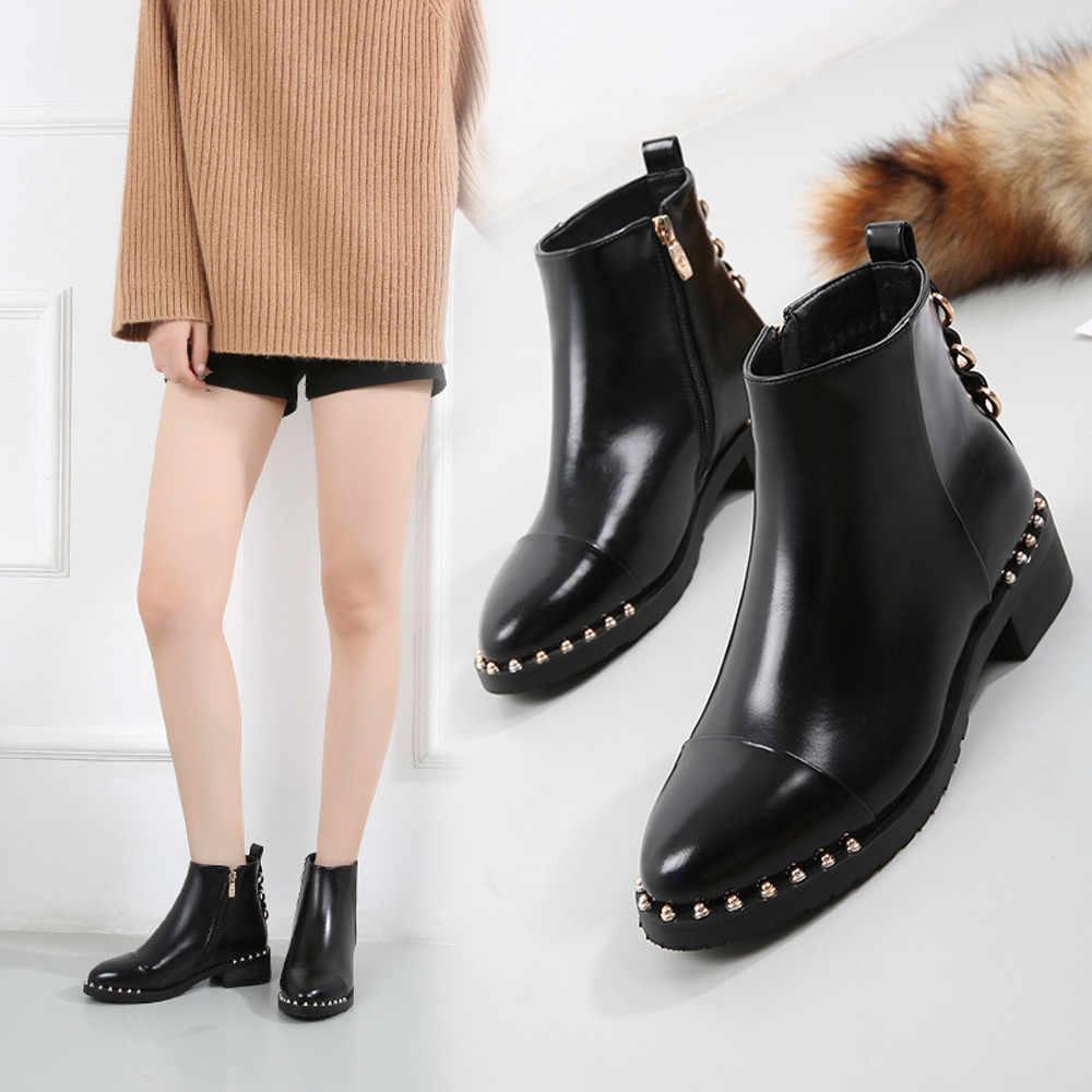 Yüksek kaliteli perçin düz bileğe kadar bot yumuşak deri kadın çizmeler çift Zip kısa bahar sonbahar çizmeler artı boyutu ayakkabı