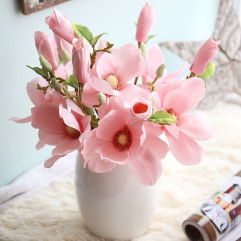 Magnolia Artificial Flowers 5 pcs/lot DIY Silk Flower Bouquet Wedding Decoration Home Decor Artificial Plants flores Wreaths