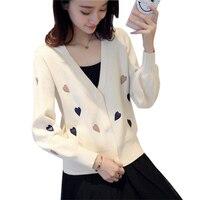 Vintage V Neck Women Knit Sweater Short Print Heart Cardigans Sweaters Spring Casual Knit Black Beige