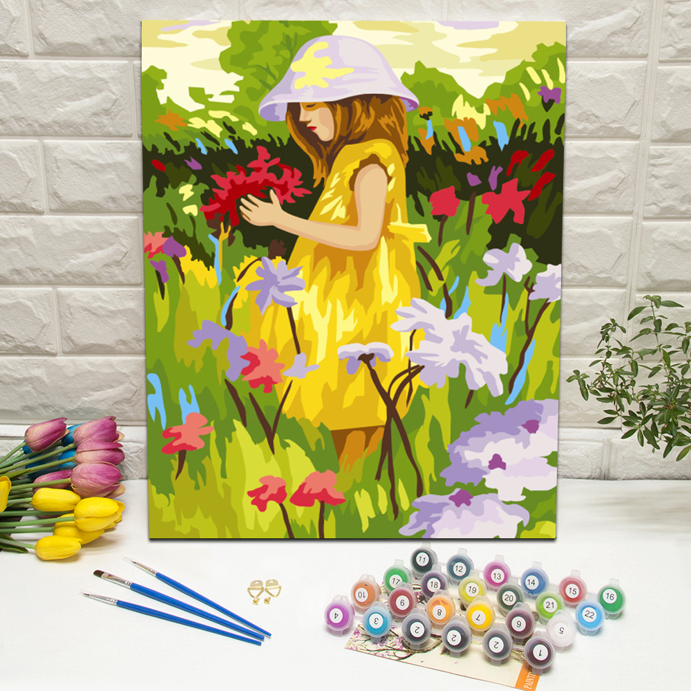 Flowers and Alice Girl Paint by Numbers kits for Beginners Canvas Make Your Own For Home Decoration Wall Art 40x50cm With Frame