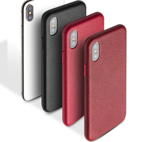 QIALINO Luxurious Genuine Leather Back Case for iPhone X Fashion Luxury Ultrathin Handmade Phone Cover for iPhoneX for 5.8 inch