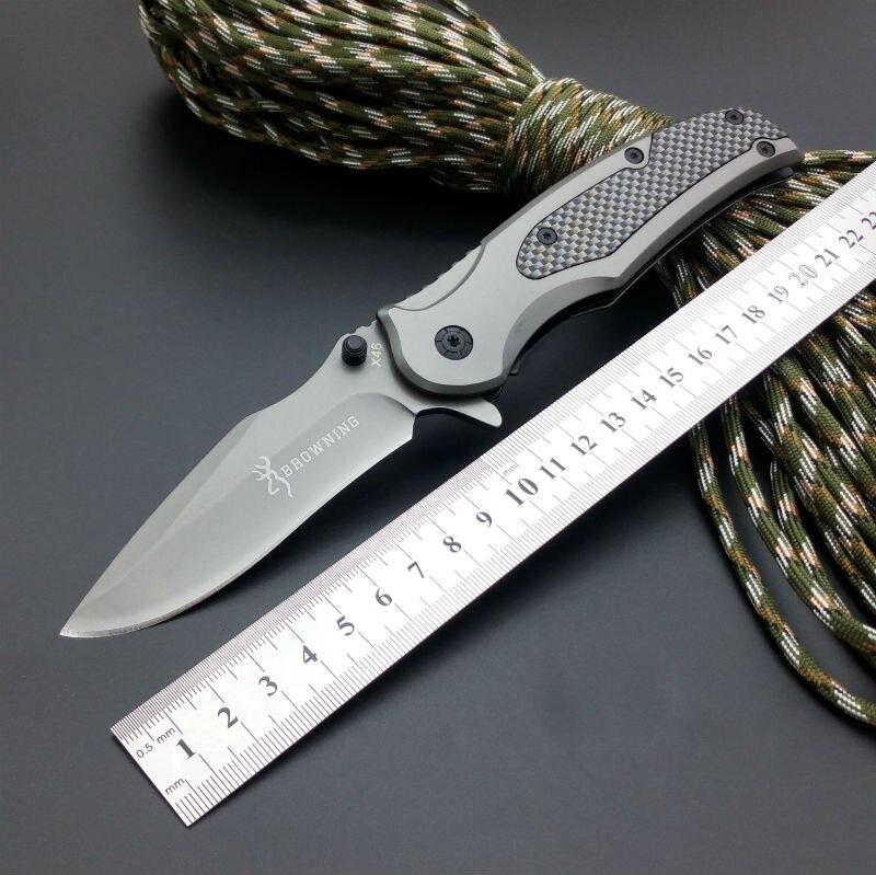 Hot Survival font b Knife b font 5CR13MOV Steel Blade Browning Pocket Folding Knifes Hunting font