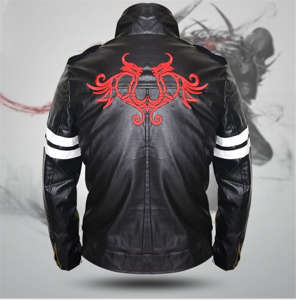 New For Game Pototype Alex Mercer Black Leather Jacket Coat Embroidery Dragon Men's Jacket