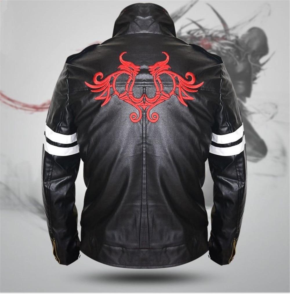 New For Game Pototype Alex Mercer Black Leather Jacket Coat Embroidery Dragon Men's Jacket