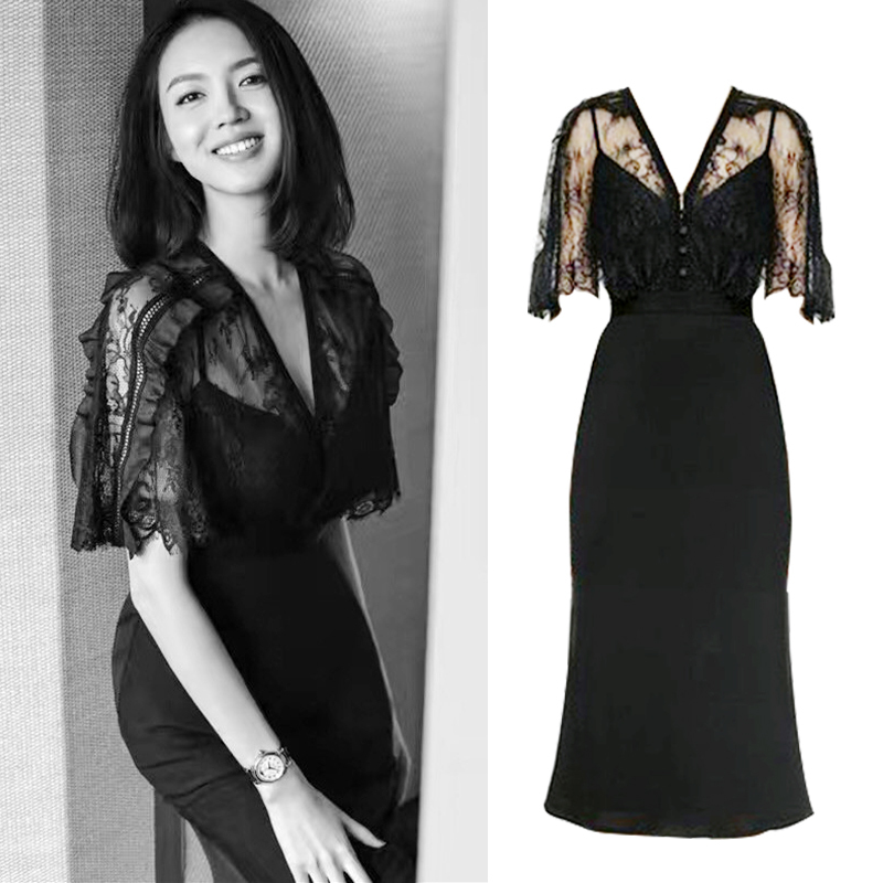 2018 Backlackgirl Elegant Beautiful Black Lace Dress