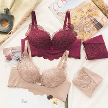 Roseheart Winter Women Fashion Sexy Lingerie Set Lace Cotton Panties Push Up Underwire Bra Set Underwear A B Bra and Panty Set недорого
