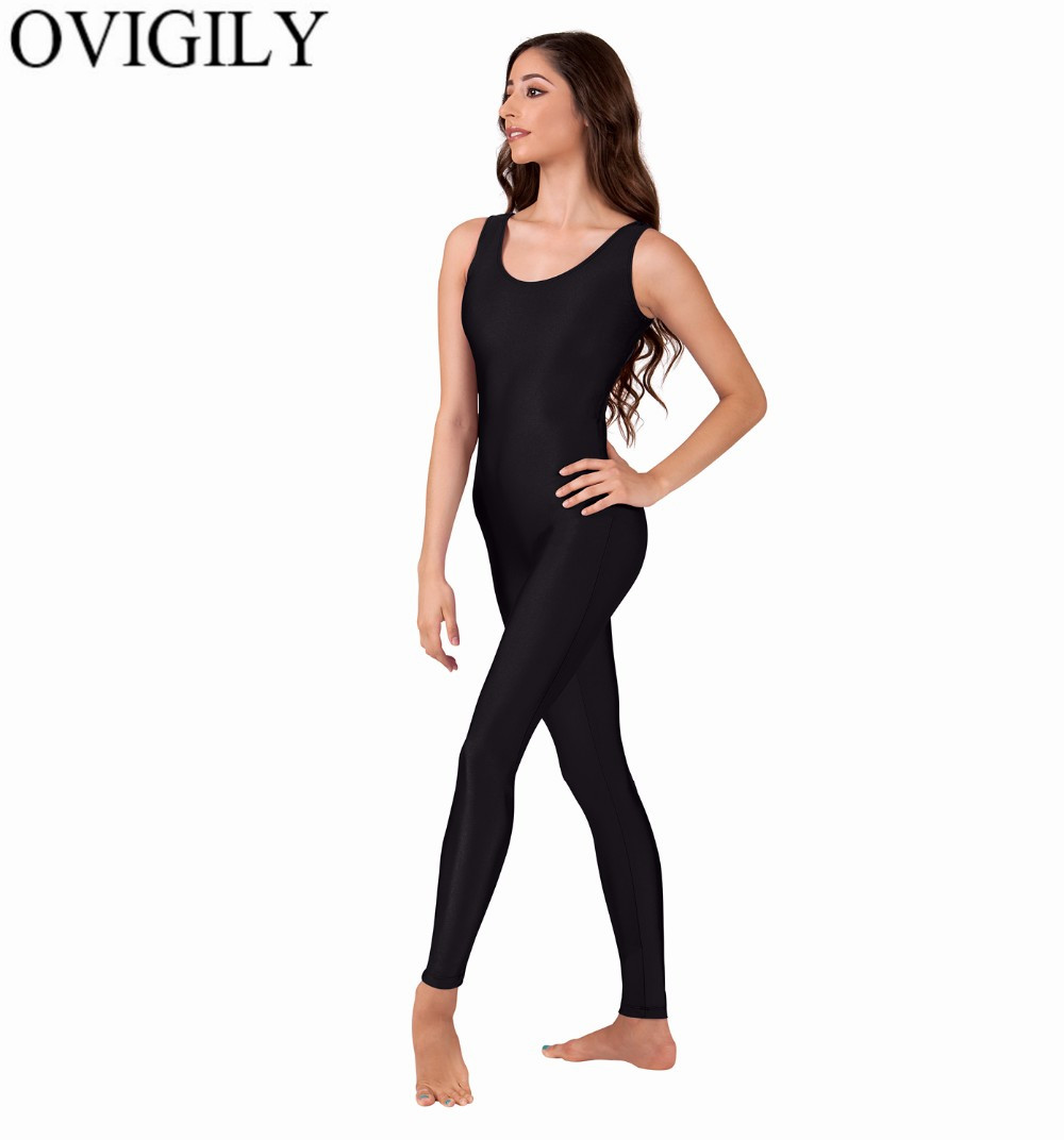 OVIGILY Womens Sleeveless Unitard Nylon One Piece Tank Unitards Catsuit Jumpsuits Rompers Ballet Dancing Yoga Wear For Adults