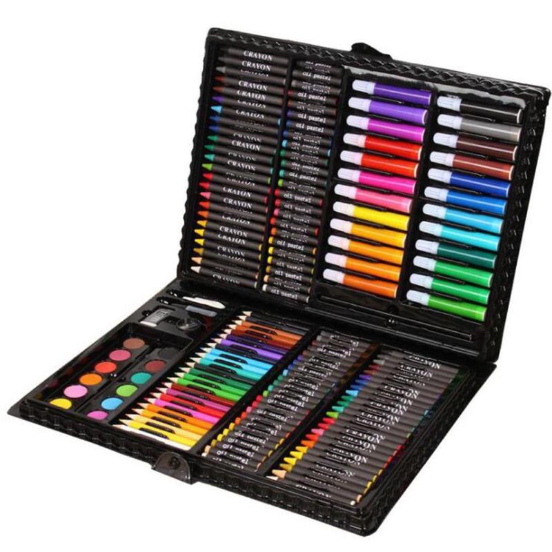 150pcs/set kids gift educational drawing set crayon brush chalk sketch pencil Watercolors powder painting school supply L50