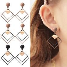 HOCOLE 2019 Trendy Metal Geometric Earring Female Korean Hollow Square Pendant Drop Earrings For Women Fashion Jewelry Party