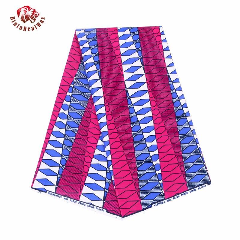 2019 High Quality 6 Yards Cotton African Guaranteed Dutch Wax Print Bazin Fabric new bintarealwax Fabrics