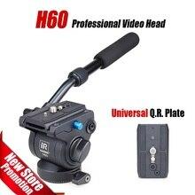 H60 de vídeo Profesional cabeza del trípode Panorámico Fluido Hidráulico cabeza monopie Manfrotto 501PL placas compatibles Mejor que JY0506H