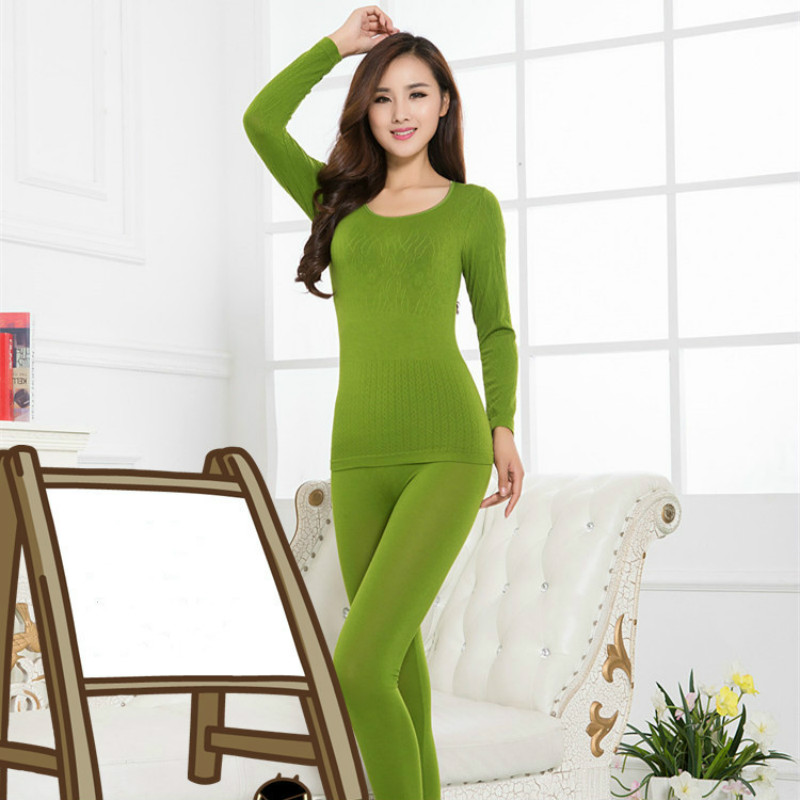Warm Thermal Underwear Sets Women Warm Tops&trousers Suit Long Johns O Neck Long Sleeve Modal One Size Solid  Drop Shipping