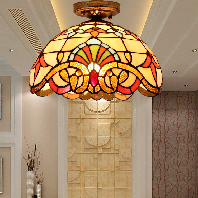 Mediterranean American porch aisle lobby Ceiling Light bedroom Tiffany crystal lamp pastoral corridor balcony ceiling lamp DF96 american copper balcony aisle ceiling lamp simple industry retro corridor restaurant ceiling light free shipping