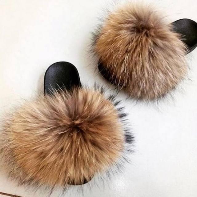 2019 Summer fox fur slides  Cute Plush Fox slippers  100% real fox hair luxury fashion beach slippers  size 36-45