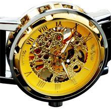 Nuevo Ganador Caliente-mechanische Uhr Herrenuhr-Selbstaufzug-Leder armbanduhr-golden