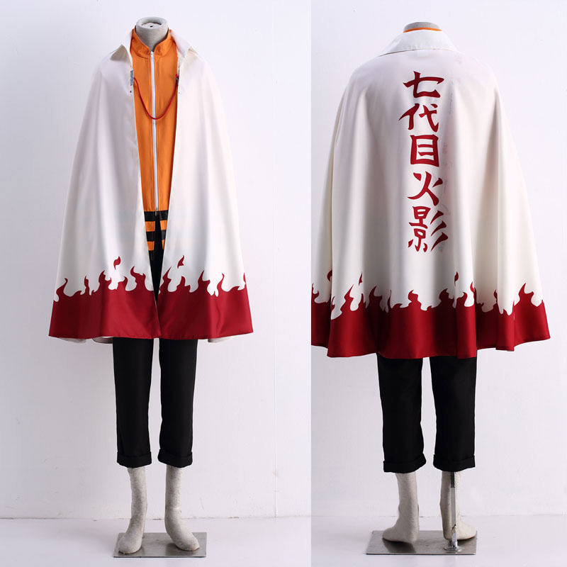 Japanese Anime Naruto Uzumaki Naruto 12 Hokage Cosplay Costume Cloak Halloween Cos Headwear
