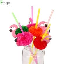 FRIGG Flamingo Straws Flexible Plastic Drinking Straw Kids Birthday Wedding Decoration Hawaii Summer Party Supplies