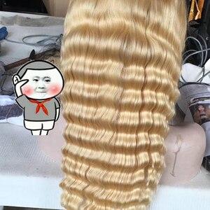 Image 5 - 헤일로 헤어 자연 가발 613 딥 웨이브 레이스 전면 인간의 머리가 발 말레이시아 금발 레이스 정면 가발 긴 물 웨이브가 발