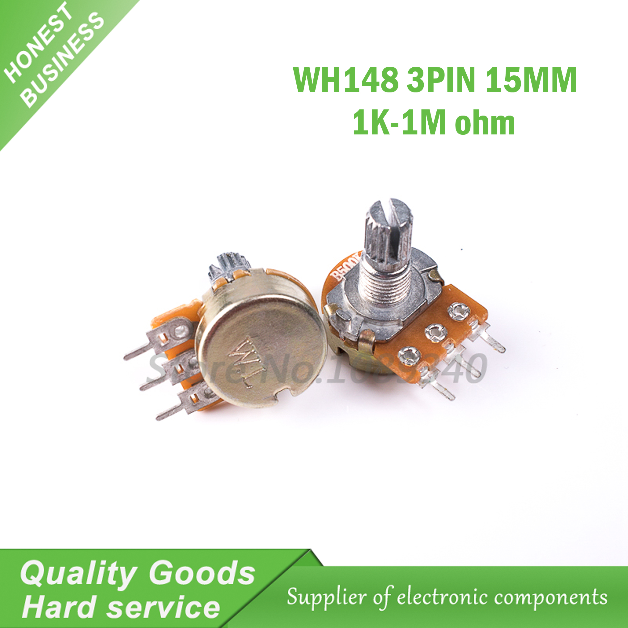 Hot Sale 5pcs Wh148 3pin 15mm B1k B2k B5k B10k B20k B50k B100k B250k Integrated Circuits Suppliers For B500k B1m Potentiometer With Nuts And Washers 1k 2k 5k 10k