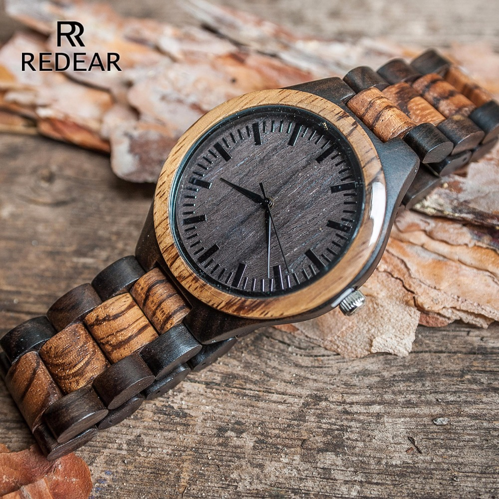 REDEAR Top Quality Wood Men Watch Automatic Zebra Wood And Ebony Black Watch The Best Gift For Man Without LOGO