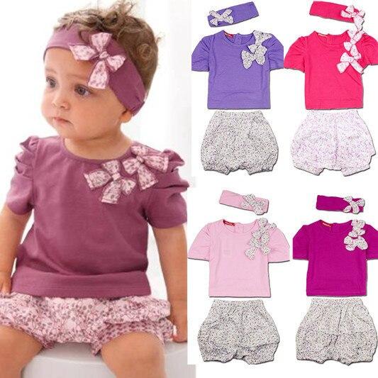 2015 Hot & New Mädchen T-shirt + short-sleeved Floral Shorts Kleine Shorts Anzüge Baby Anzug