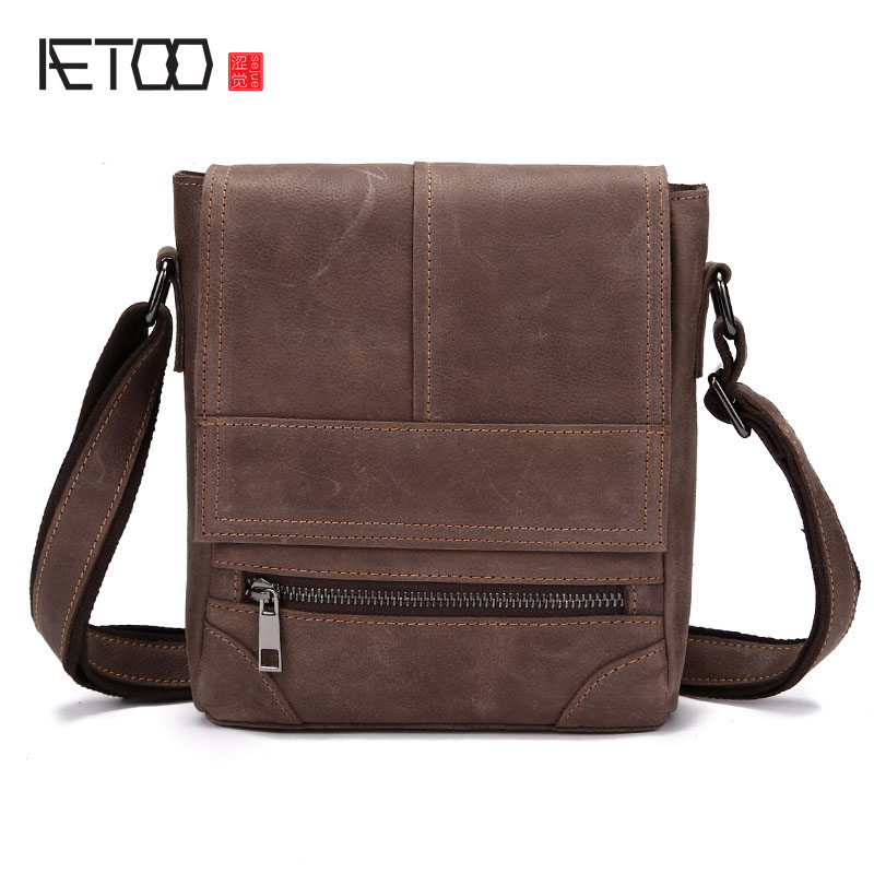 AETOO Shoulder bag male leather retro crazy horse purse casual oblique header layer of leather ipad messenger bag meifeier 407 women s fashionable knitted chiffon blouse apricot l