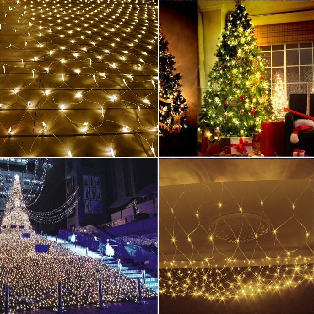 Outdoor/ indoor 8 Modes LED Net Lights Christmas Lights 672 LEDs 4 x 6m LED Bulbs Outdoor Strings Light for Holiday Waterproof blue colour 100 meter 800 led christmas lights 8 modes for decorative christmas holiday wedding parties indoor outdoor use