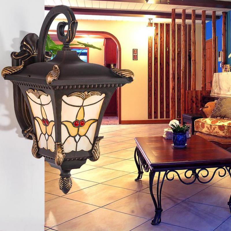 Lampe de jardin Tiffany étude américaine Antique fer verre éclairage extérieur méditerranée mer lampe étanche lumières extérieures