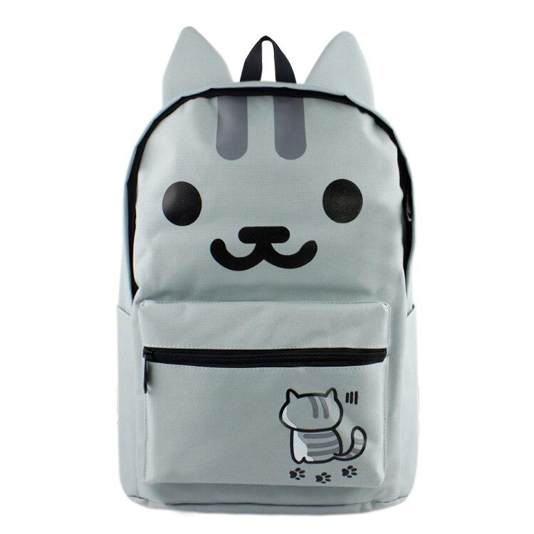 Anime Neko Atsume High Quality Canvas Solid Color Laptop Backpack Double-Shoulder School Bag kitty cat backyard neko atsume backpack comic periphery dual portable canvas shoulders bag cartoon accessory kids anime gift