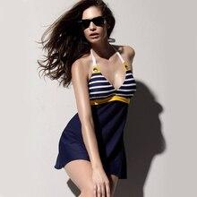 Сексуальный женский цельный купальник с подкладкой, купальник с бретелькой через шею, темно-синяя юбка, Пляжное Платье, купальный костюм, большие размеры M L XL XXL XXXL
