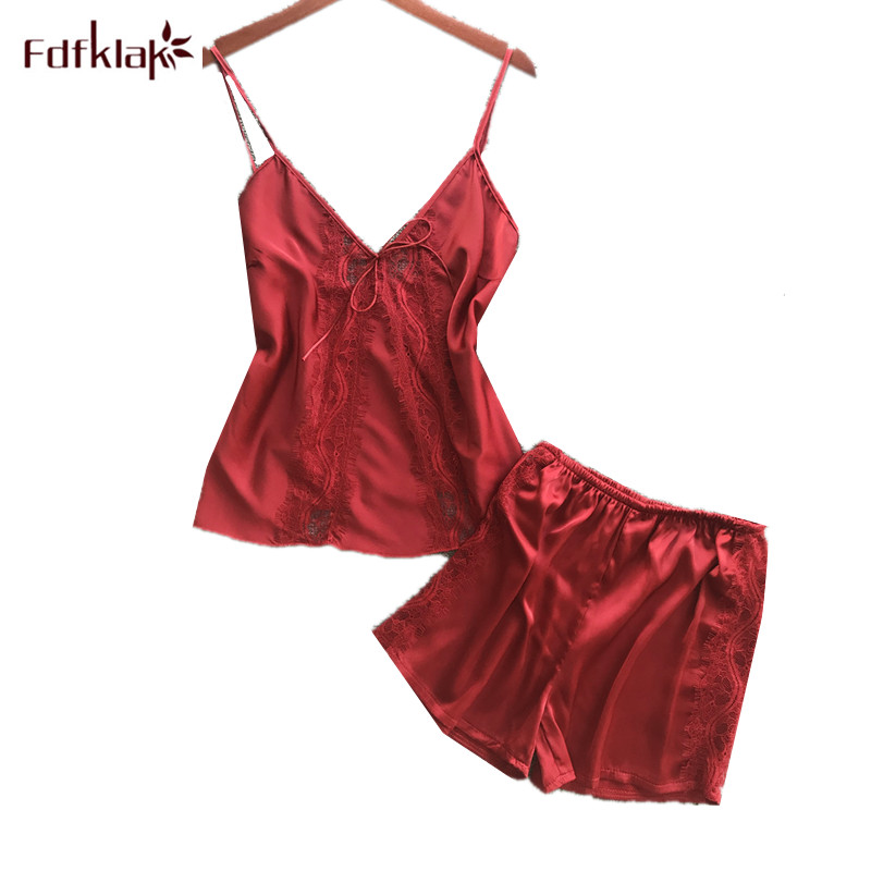Spring summer women   pajamas     set   sexy lace silk sleepwear pijama mujer 2019 spaghetti strap shorts nightwear pyjama femme