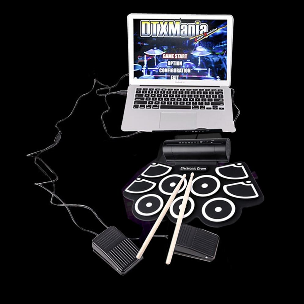 Portable Roll Up Electronic Drum Set 9 Silicon Pads Built in Speakers with Drumsticks Foot Pedals