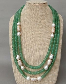 "22"" 3rows green Aventurine J1ade White Keshi Pearl Cz Beads Necklace"