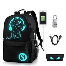 Аниме световой школьный ранец для мальчика студент рюкзак плечо под 15.6-дюймовый с зарядка через USB Порты и разъёмы и замок школьная сумка черный