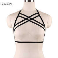 2017 Sexy Women Girl Hollow Out Elastic Cage Bandage Strappy Halter Bra Bustier Cropped Belt Harness Crop Tops