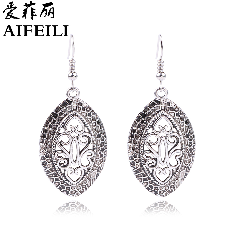 AIFEILI 2018 Women Classic Fashion Jewelry Gift Ethnic Tibetan Silver Earrings Bohemia Leaves ...