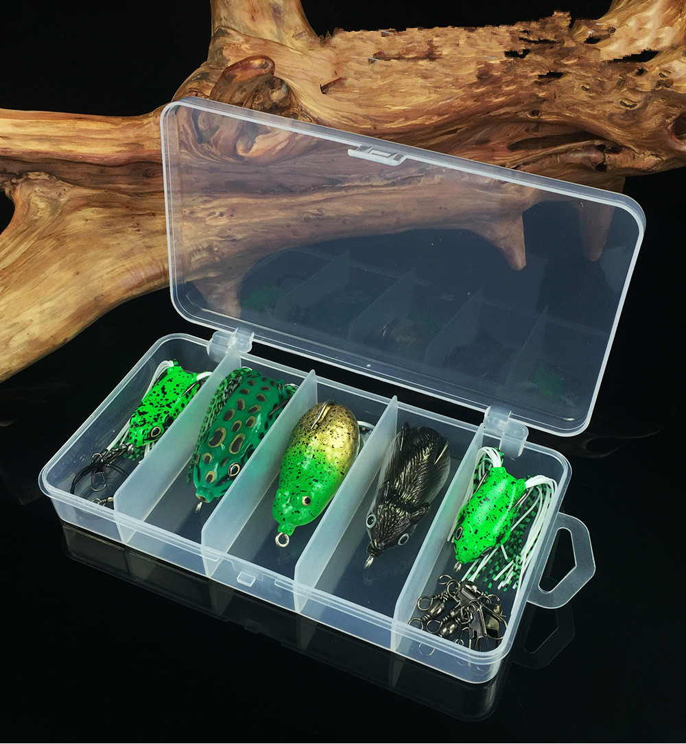 5pcs Fishing Lure Kit Frog Mouse Combo Free Swivels And Snaps Pre Lead Wire Double Hook Fishing Soft Baits Carp Fishing Tackle in Fishing Lures from Sports Entertainment