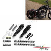 Papanda Motorbike Black Shock Absorbers Front Rear Lowering Slammer Kit for Harley Sportster XL 883 1200 XLH883 1988-2003