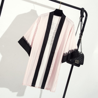 Pink White Striped Satin Robes Women Rhinestone Sexy Dressing Gown Bridesmaid Robes