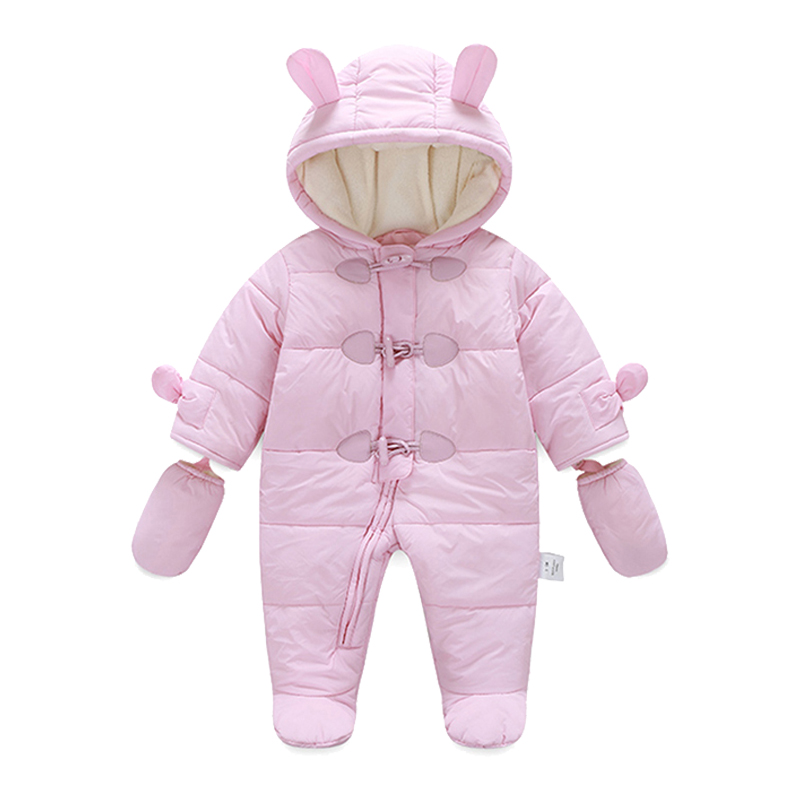 Fashion Baby Girl Romper Winter Thick Warm Baby Boy Clothing Overalls Long Sleeve Hooded Jumpsuit Kids Newborn Outwear for 0-24M
